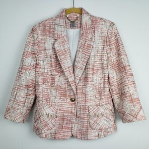 Cache Tweed One Button Jacket Blazer